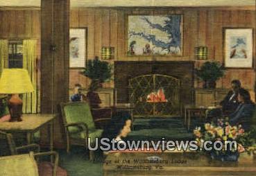 Lounge of The Lodge  - Williamsburg, Virginia VA Postcard