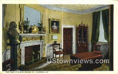The Family Dining Room  - Mount Vernon, Virginia VA Postcard