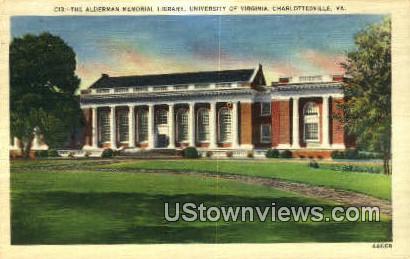 The Alderman Memorial Library  - Charlottesville, Virginia VA Postcard