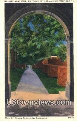 Serpentine Wall U of Virginia  - Charlottesville Postcard