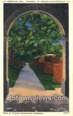 Serpentine Wall U of Virginia  - Charlottesville Postcard