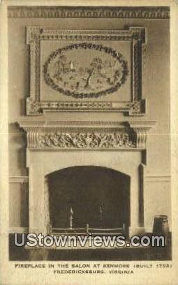 Fireplace in The Salon At Kenmore  - Fredericksburg, Virginia VA Postcard