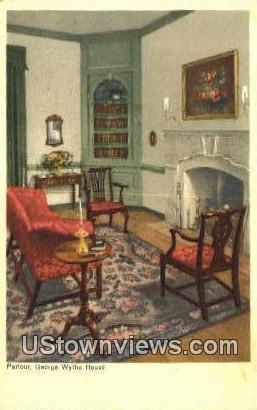 Parlour George Wythe House  - Williamsburg, Virginia VA Postcard