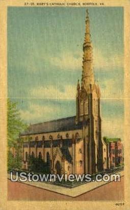 Marys Catholic church  - Norfolk, Virginia VA Postcard