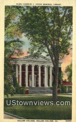 Charles L Cook Memorial Library  - Hollins College, Virginia VA Postcard