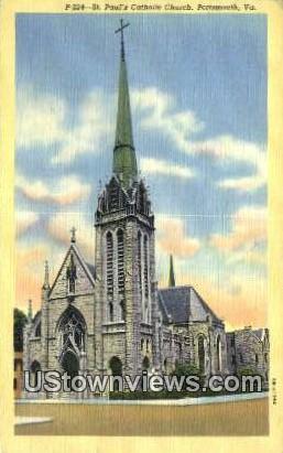 St Pauls Catholic Church  - Portsmouth, Virginia VA Postcard