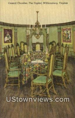 council Chamber The Capitol  - Williamsburg, Virginia VA Postcard