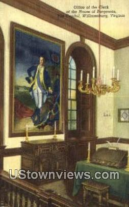 Clerk Of The House Of Burgesses  - Williamsburg, Virginia VA Postcard