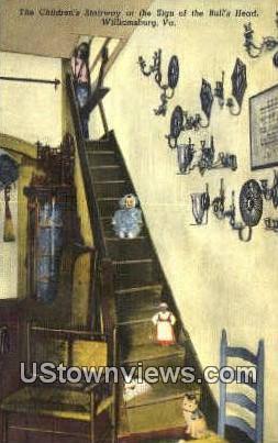 Children's Stairway - Williamsburg, Virginia VA Postcard