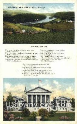 Virginia And State Capitol  - Richmond Postcard