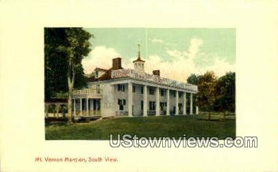 South View Of Mansion  - Mount Vernon, Virginia VA Postcard