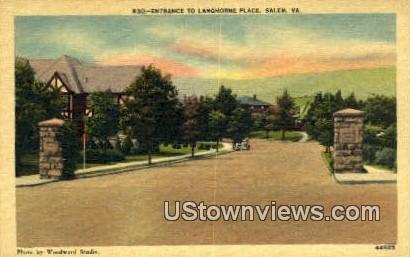Entrance To Langhorne Place  - Salem, Virginia VA Postcard