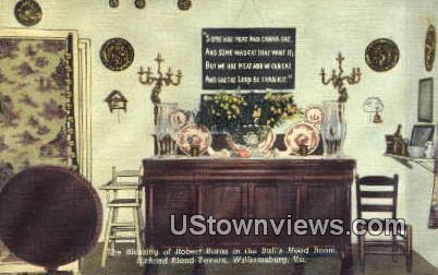Robert Burns In Bulls Head Room  - Williamsburg, Virginia VA Postcard