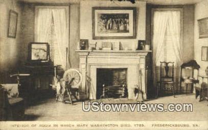 Room Mary Washington Died 1789  - Fredericksburg, Virginia VA Postcard