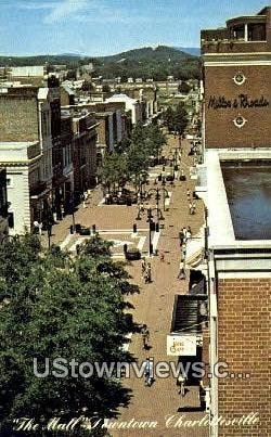 The Mall  - Charlottesville, Virginia VA Postcard