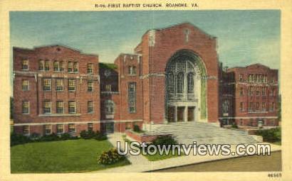 First Baptist Church  - Roanoke, Virginia VA Postcard