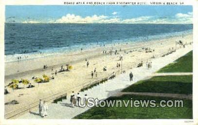 Board Walk, Edgewater Hotel  - Virginia Beach Postcards, Virginia VA Postcard