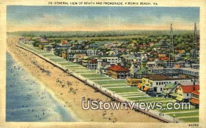 Beach & Promenade  - Virginia Beach Postcards, Virginia VA Postcard