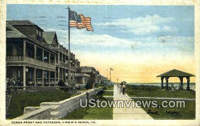 Ocean Front And Cottages  - Virginia Beach Postcards, Virginia VA Postcard