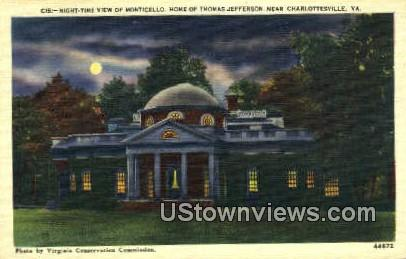 Monticello, Home Thomas Jefferson  - Charlottesville, Virginia VA Postcard