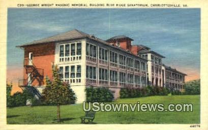 Pavilion Masonic Building  - Charlottesville, Virginia VA Postcard