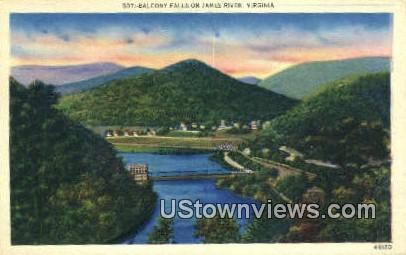Balcony Falls On James River  - Virginia VA Postcard