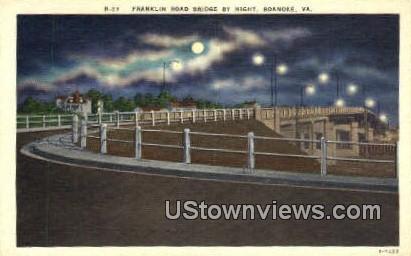 Franklin Road Bridge By Night  - Roanoke, Virginia VA Postcard