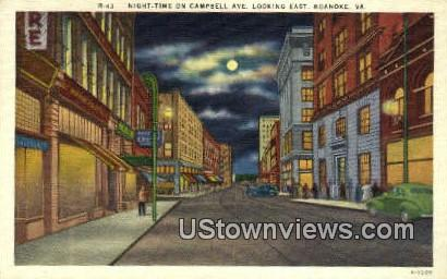 Night Time On Campbell Avenue  - Roanoke, Virginia VA Postcard