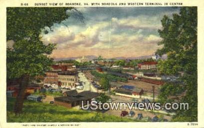 Norfolk And Western Terminal Center  - Roanoke, Virginia VA Postcard