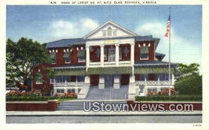Home Of Lodge No 197 BPO Elks  - Roanoke, Virginia VA Postcard