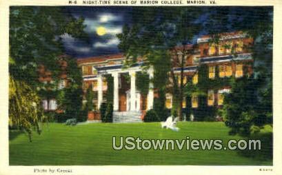 Night time Scene Of Marion College  - Virginia VA Postcard