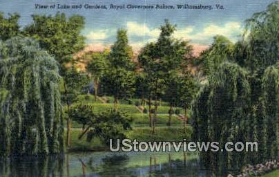 Lake And Gardens Governors Palace - Williamsburg, Virginia VA Postcard