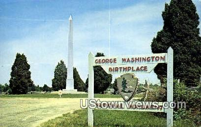 Washingtons Monument  - Washington's Birthplace, Virginia VA Postcard