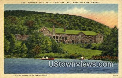 Mountain Lake Hotel From The Lake  - Virginia VA Postcard