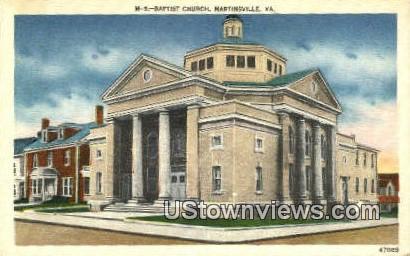 Baptist Church  - Martinsville, Virginia VA Postcard