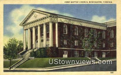 First Baptist Church  - Winchester, Virginia VA Postcard