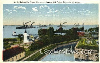 Us Battleship Fleet Hampton Roads  - Old Point Comfort, Virginia VA Postcard