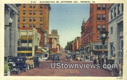 Intersection On Jefferson Avenue  - Roanoke, Virginia VA Postcard
