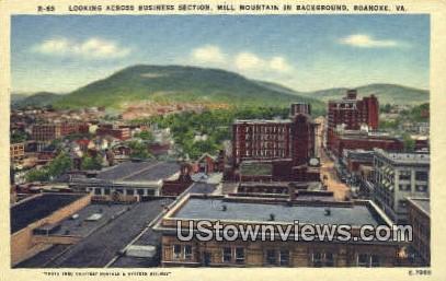 Mill Mountain In Background  - Roanoke, Virginia VA Postcard