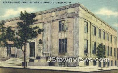 Public Library  - Richmond, Virginia VA Postcard