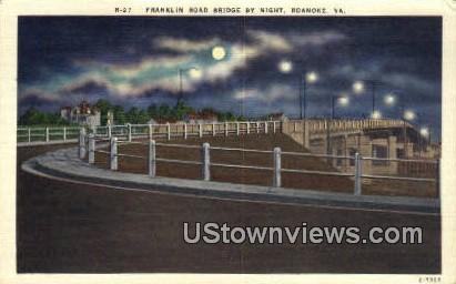 Franklin Bridge By Night  - Roanoke, Virginia VA Postcard