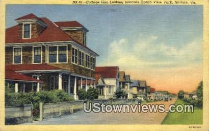 Cottage Line Towards Ocean View  - Norfolk, Virginia VA Postcard