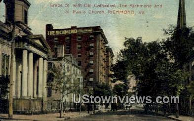 Grace Street With Old Cathedrals  - Richmond, Virginia VA Postcard
