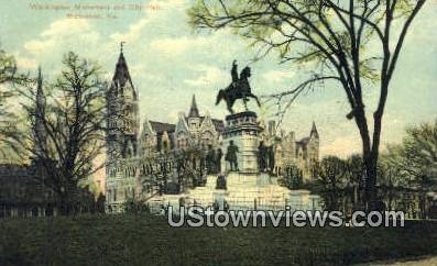 Washington Monument And City Hall  - Richmond, Virginia VA Postcard