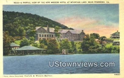 Modern Hotel And Mountain Lake  - Pembroke, Virginia VA Postcard