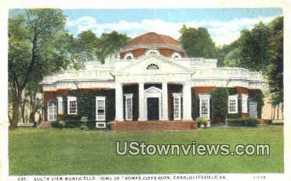 Monticello Home of Jefferson  - Charlottesville, Virginia VA Postcard