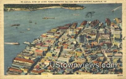 down Town Business Section  - Norfolk, Virginia VA Postcard