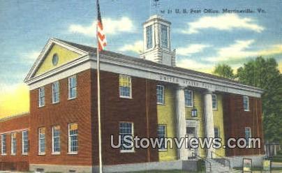 Us Post Office  - Martinsville, Virginia VA Postcard