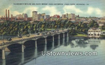 Richmond Skyline And Mayo Bridge  - Virginia VA Postcard