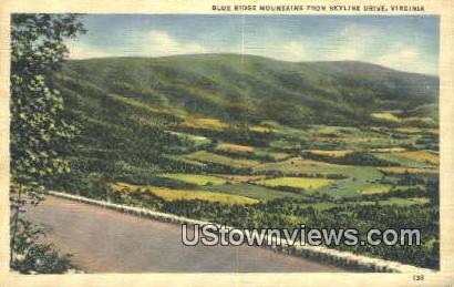 Blue Ridge Mountains  - Skyline Drive, Virginia VA Postcard